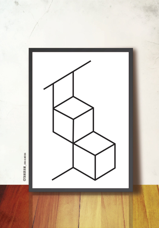 Würfel-Plakat druckbare. GEOMETRISCHE Kunst-Druck. Abstrakt