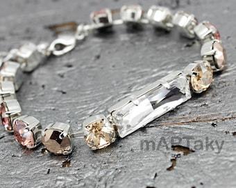 Blush Pink Bracelet, Swarovski Bracelet, Powder Rose Tennis Bracelet, Rhinestone Bracelet, Adjustable Bracelet, Bridesmaids, Bridal Wedding