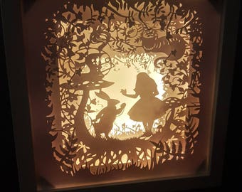 Curiouser and curiouser.... Alice in Wonderland inspired Light up Shadow Box