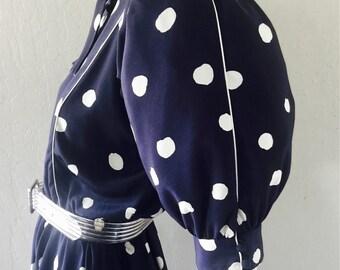 80's Does 40's Albert Capraro for Lillie Rubin Navy Polka Dot Swing/New Wave/Secretary Dress Sz S/M