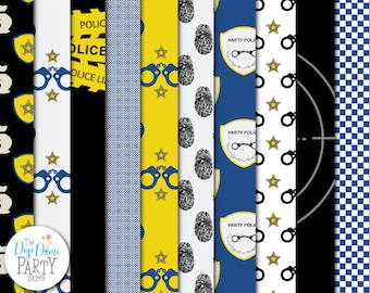 Police Digital Scrapbooking Paper Pack in Blue & Yellow, Buy 2 Get 1 FREE. Instant Download