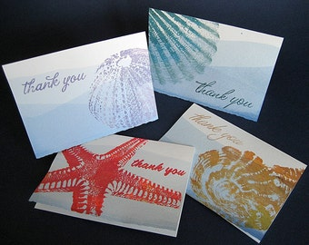 Hand Dyed Seashore Thank You Cards, set of 8