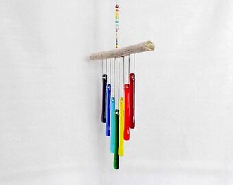 Rainbow Windchime, Rainbow Wind Chime with Driftwood, Glass Chimes, Glass Rainbow, Rainbow Suncatcher