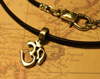 Free Shipping, Leather Necklace, Om Symbol Yoga, Mens Necklace, Mens Jewelry, Mens Gift, Pendant, Distresed Cord