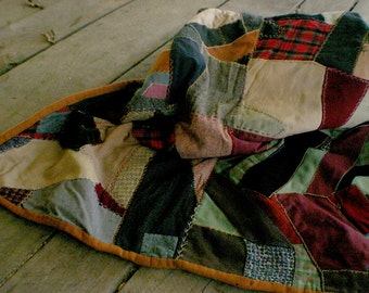 Antique Victorian Style Patchwork Quilt.  Hand Stitched.  Mostly Wool.  Full / Queen. Rustic Farmhouse Decor. Antique Beding. Edwardian Era.