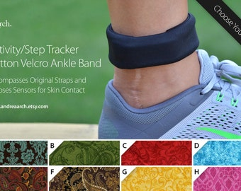 Paisley/Swirls Activity/Step Tracker 100% Cotton Ankle Band – Encompasses Original Straps and Exposes Sensors for Skin Contact