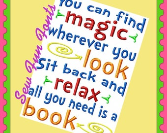 You Can Find Magic Wherever You Look Reading Quote, Reading Saying, Reading Embroidery ~ Subway Art Embroidery Design INSTANT DOWNLOAD