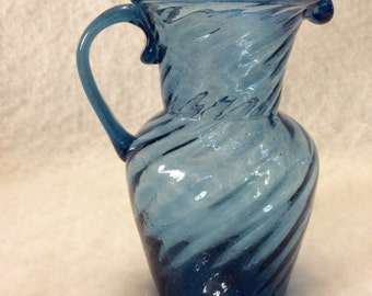 Hand blown glass pitcher rippled light blue vintage 1970s. Free ship