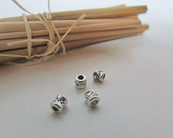 10 bead tube 4 x 3 mm silver - hole 1 mm - 633