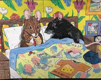 Mouse and Rat Print.  Original Art, Acrylic Paint, Hand-drawn, Wall Art.