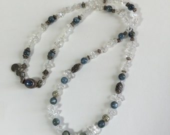 Herkimer Diamond Quartz, Kyanite, Sterling Silver Necklace