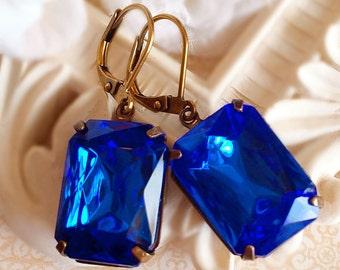 Sapphire Earrings - Blue - Victorian Jewelry - Gift - WINDSOR Sapphire