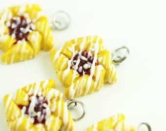Food Jewelry, Pastry Charm, Cherry Danish, Polymer Clay Food, Miniature Food, Stitch Marker, Food Charm, Progress Keeper, Cherry Pinwheel