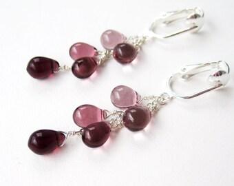 Ombre Purple Clip On Earrings, Smooth Glass Teardrop Silver Clip Earrings, Light Purple to Dark Amethyst, Lavender Drops, Shades of Purple