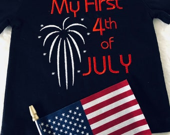 Baby clothes Independence Day July 4  Ready to ship customize Size, Glow in the Dark fireworks!
