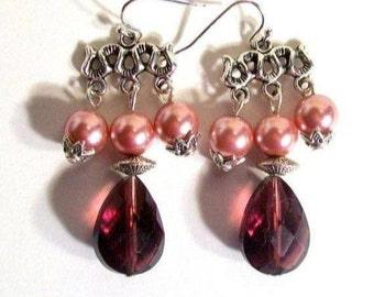 Chandelier Earrings, Large Cranberry Tear Drop, Cranberry Earrings, Select Wire Type