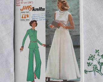 Vintage dressmaking pattern, dress, top and trousers, for stretch knits, Simplicity 6653, size bust 38 inches, 1974, uncut