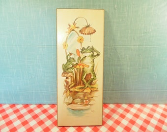 Vintage Frog Art - Coby - Bathroom Decor - Whimsical Art - Mom Baby - 1970s