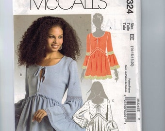 Misses Sewing Pattern McCalls M5324 5324 Misses Bohemian Peasant Top Wide Angel Wing Sleeves Size 14 16 18 20 22 UNCUT