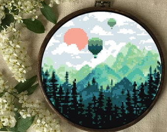 Modern round landscape cross stitch pattern, mountains, Balloons, sky, forest, nature, sunset, trees, clouds, instant pdf, diy, embroidery,