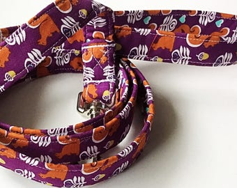 Purple Dog Leash with Squirrels and Acorns