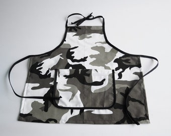 Child Apron Camouflage Grey