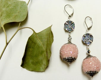 Artisan Kashmiri Earrings, Pink. Silver   *free shipping**