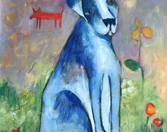 acrylic painting blue dog on paper expressionist original unframed