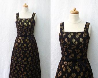 1950s Vintage Metallic Jacquard Dress / Black & Gold Floral Dress