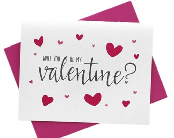 Be My Valentine? Cute VDAY Card, Valentine's Day, Will You By Mine, Love, Amor, Romance, Pink Hearts Greeting Card, Ready to Ship!