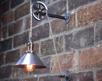 Sconce wall plug in industrial wall sconce pendant edison hanging lamp metal shade edison bulb aloadofball Image collections