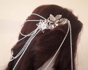 "Headpiece ""Starflower"", Leaf Comb Headpiece, Bride Hair Jewelry, Elvish Headpiece, Fantasy Tiara, Haircomb with Chains"