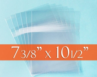 """200 Cello Bags: 7 3/8 x 10 1/2"""" Inch Comic Book Size. Clear & Resealable with Protective Adhesive"""