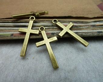 BULK 50 Cross Charms Antique Bronze Tone -WS8024
