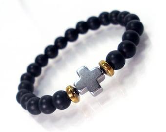 Children's  Bracelet - Black Onyx and Hematite Cross, Bracelet for Children,Cross Bracelet,Gemstone Bracelet,Kids Bracelet,Gift for Children