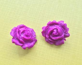 Rosie Posie Fuscia / Neon Purple Chunky Flower Rose Stud Post Polymer Clay Earrings