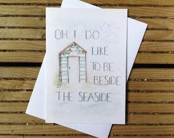 Beach Hut - Watercolour Card - Illustration - Seaside
