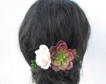 Succulent Peach Desert Rose Flower Hair Comb Fascinator Bridesmaid Floral 5221