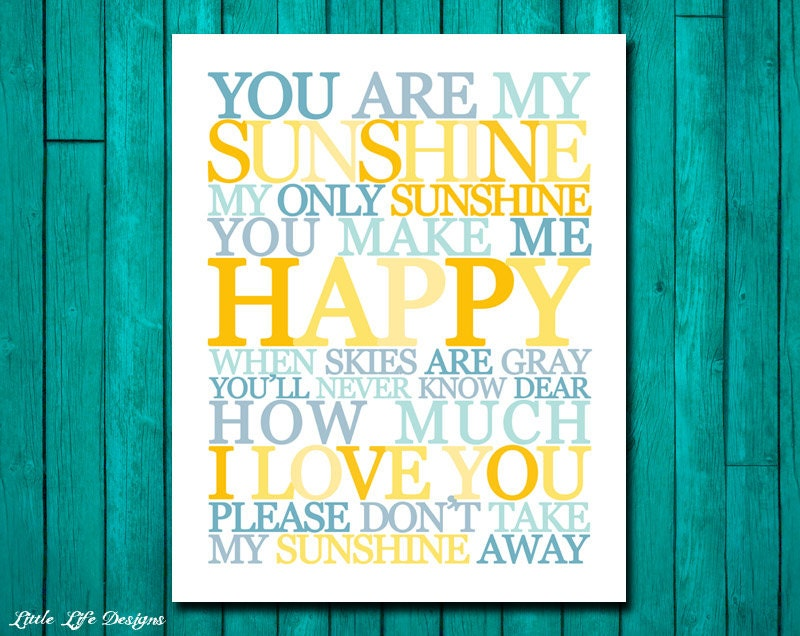 You Are My Sunshine Wall Art. Childrens Nursery Decor. You Are