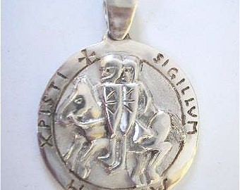 seal of the Templars massive Silver Pendant