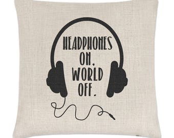 Headphones On World Off Linen Cushion Cover