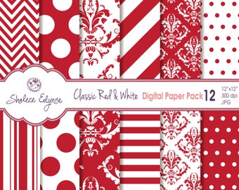 "Classic Red & White Digital Paper Pack 12""x12"", Instant Download, Commercial Use, Printable 300 dpi"