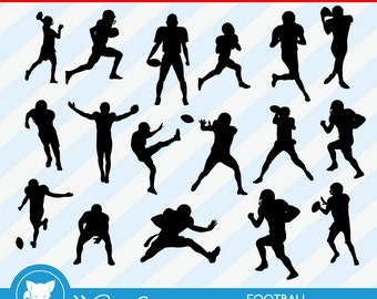 50% OFF SALE Football Silhouettes, Sports Silhouette, Athlete Silhouettes, Football Clipart, Instant Download