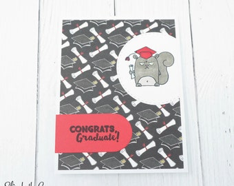Graduation Congratulations Card, Graduation Card, Congratulations Card, Funny Graduation Card, Grumpy Squirrel, Handmade Greeting Cards