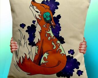 Fox Dj Headphones - Cushion / Pillow Cover / Panel / Fabric