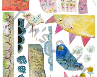 Mixed media, journaling collage sheets - by Mindy Lacefield, timssally