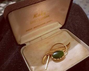 Vintage Koha greenstone brooch