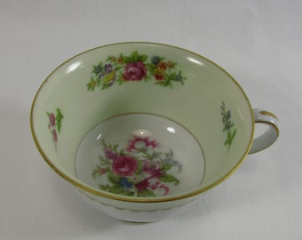 Vintage 1940s Rose China Tea Cup   Made in Occupied Japan   Gold Trim   China   Green Stamp  