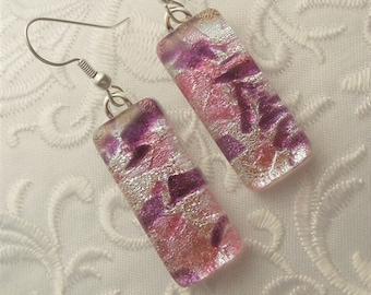 Dichroic Fused Glass Earrings - Glass Earrings - Dichroic Earrings - Dichroic Jewelry - Cute Earrings - Pink Earrings X7887
