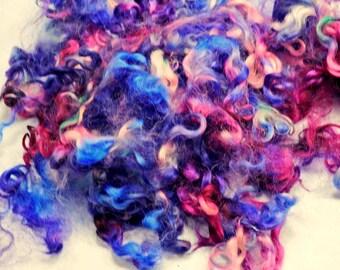 Cotswold Wool Locks Spinning Needle Felting Curly Doll Hair 1 oz Ruby, Blue, Purple